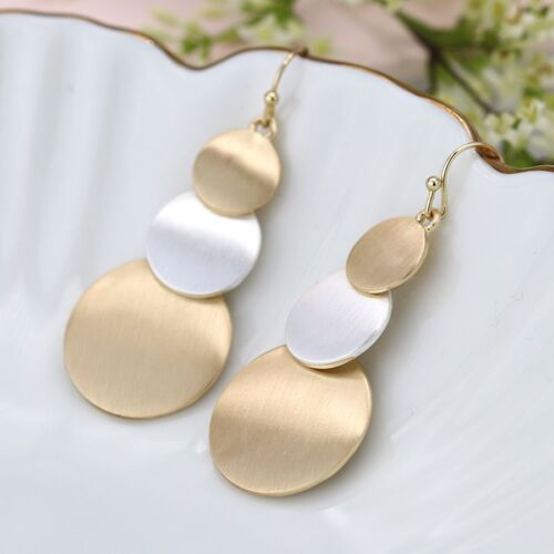 Silver and Gold Plated Triple Brushed Disc Earrings