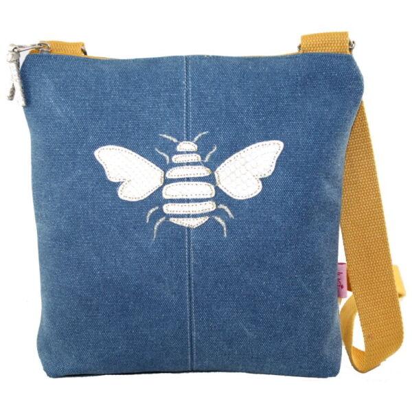 bee applique bag blue