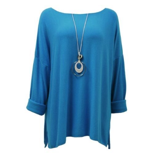 Blue .Necklace With Top Knit Soft Ladies