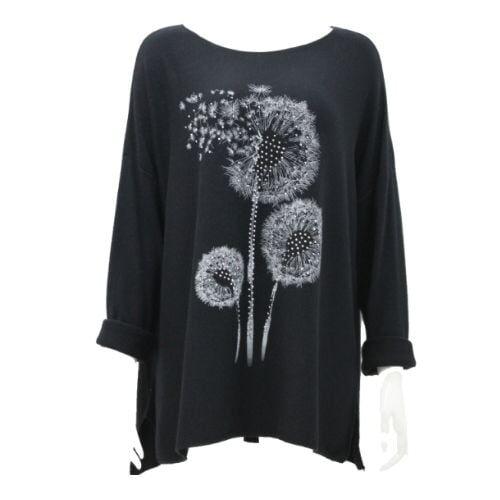 Black Top Knit Soft Dandelion Ladies