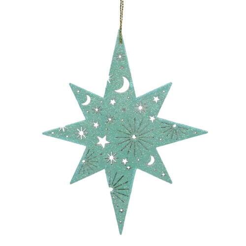 Bethlehem star wooden turquoise.
