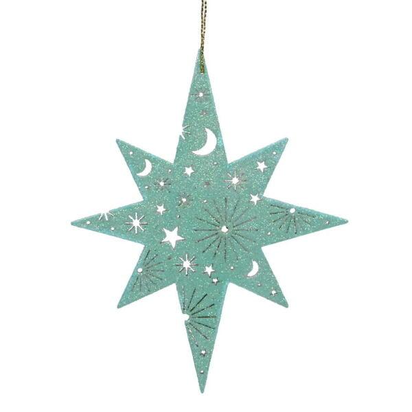 Bethlehem star wooden Christmas decoration turquoise.
