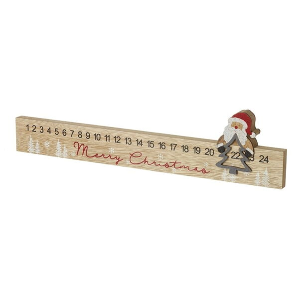 Christmas Decoration Wooden Advent Calendar with Father Christmas