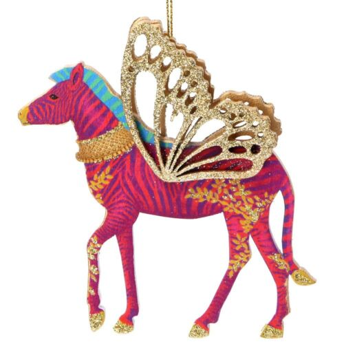 Wooden painted colourful zebra with gold wings