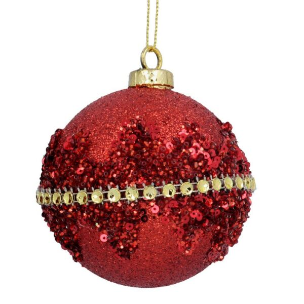 Gisela Graham Christmas Decoration Red Glitter Ball with Diamante Band