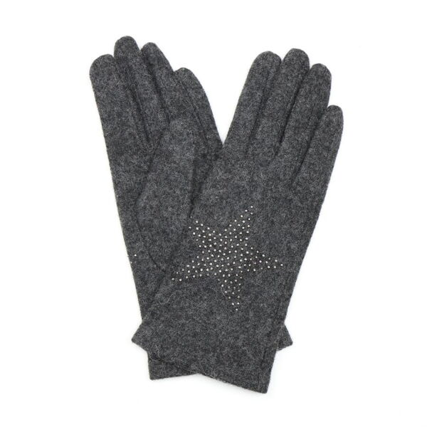 Grey wool Gloves with star