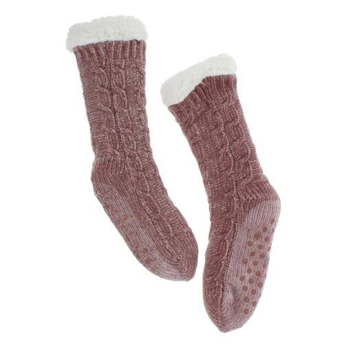 Pink Chenille Slipper Socks