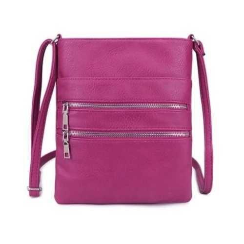 Cross Body Bag With Zips. Purple