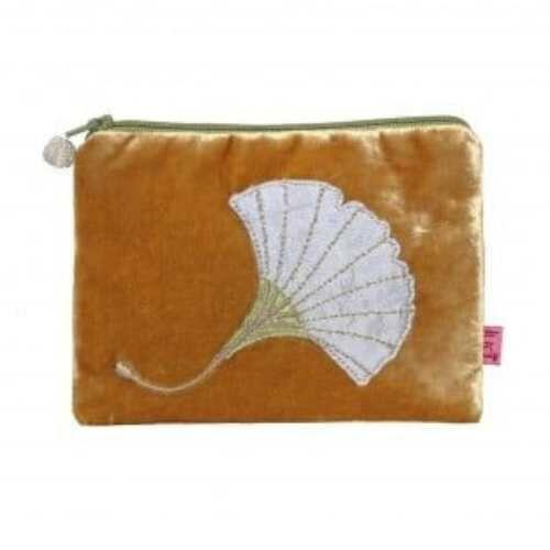 Lua Velvet Purse with Ginkgo Leaf. Ochre