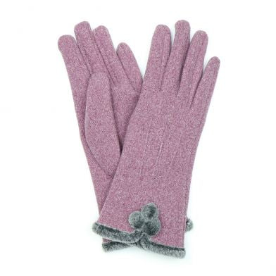 Super soft gloves with faux fur trim and pompom detail