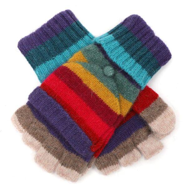 Stripey Woolen fingerless gloves/mittens
