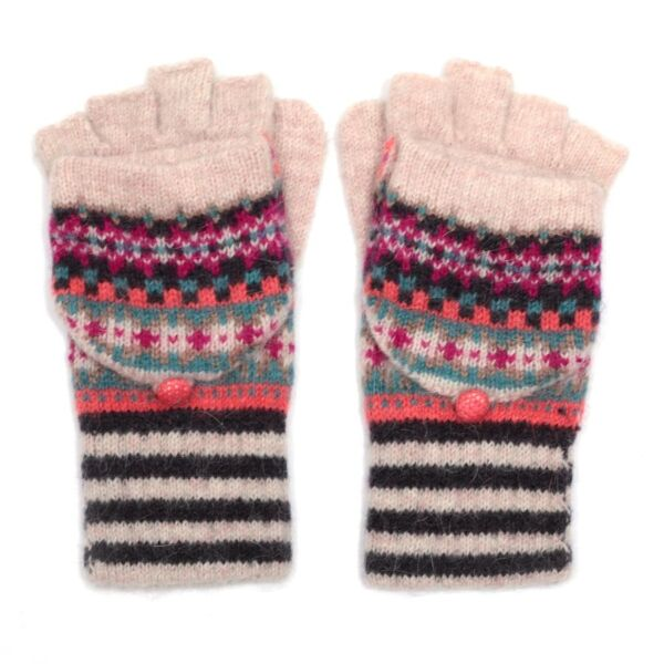 Multicoloured Stripey Woolen Fingerless Gloves/mittens