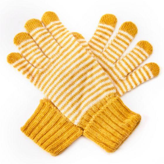 Stripey Warm winter wool glovews
