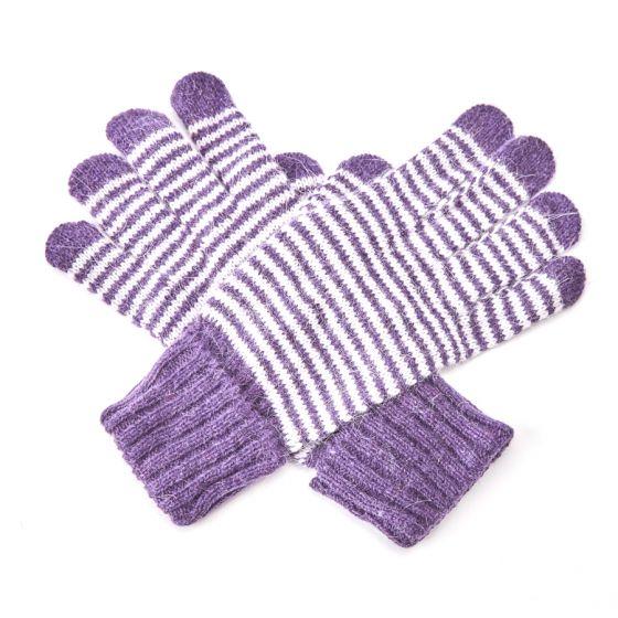 Warm Wool Stripey winter gloves