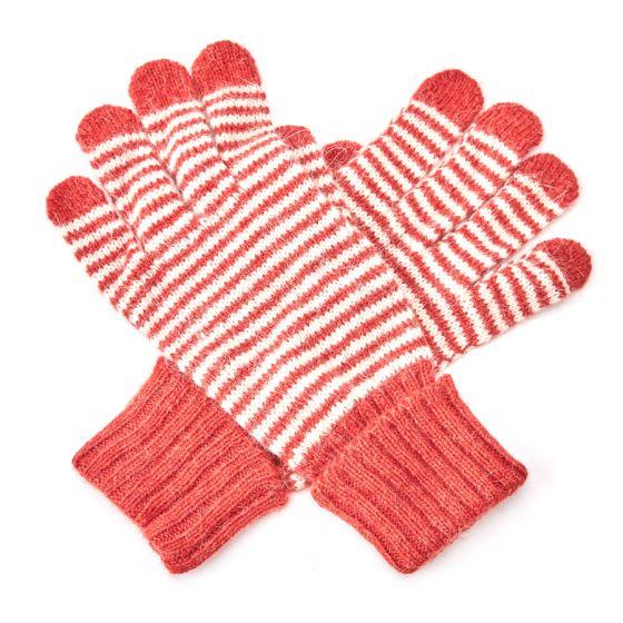 Stripey warm wool winter gloves