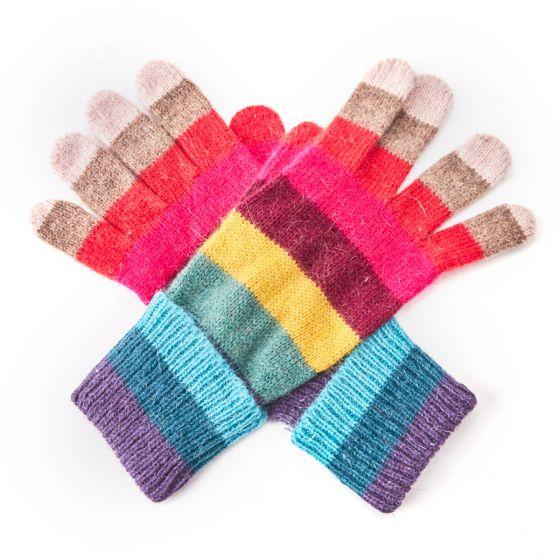 Multi coloured stripey woolen winter gloves