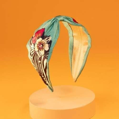 Powder Embroidered Headband. Teal Zebra