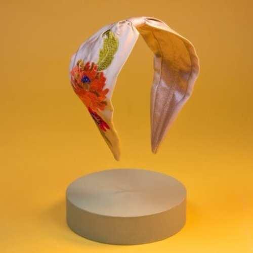 Powder Embroidered Flowers Headband. Cream