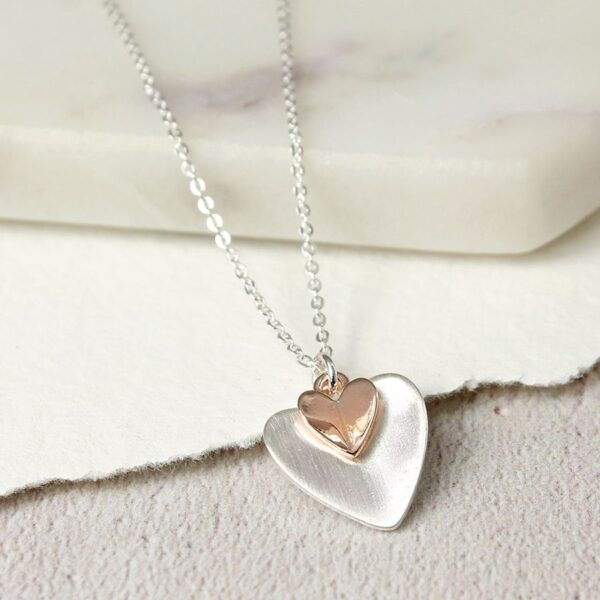 Necklace Heart Double Plated Gold And Silver