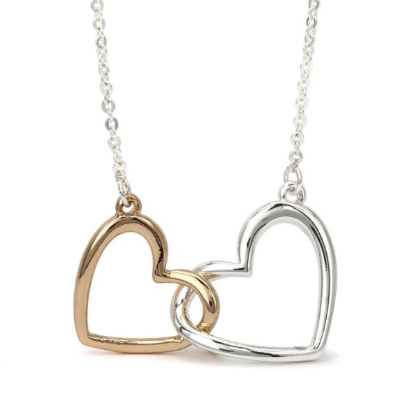 Silver plated double heart necklace