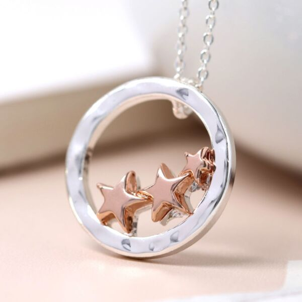 silver palted necklace with stars
