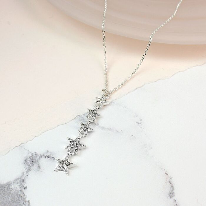 silver palted star crystal necklace