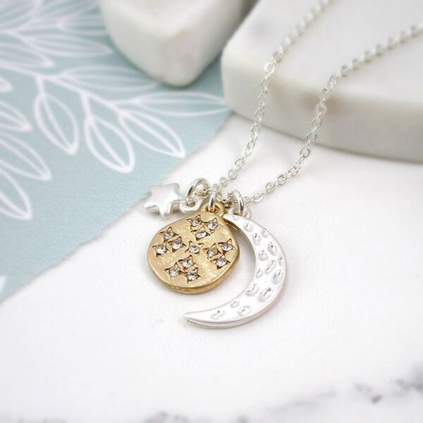 moon and star silver plated necklace