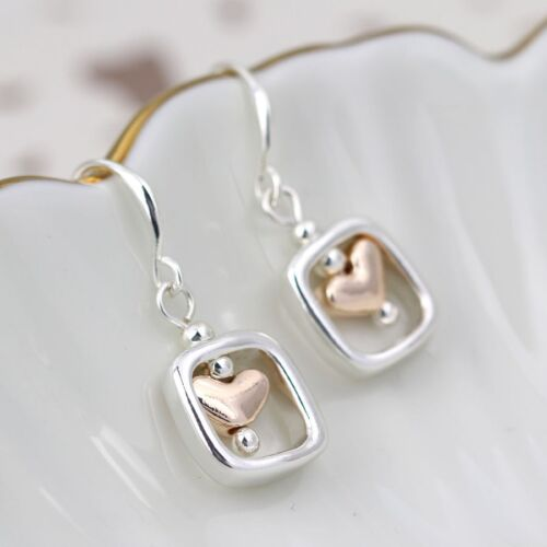 Earrings Heart Plated Glod And Silver