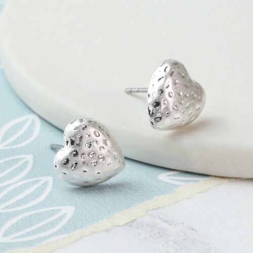 Htud Heart Hammered Plated Silver