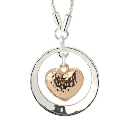 Rose gold and silver plated necklace.