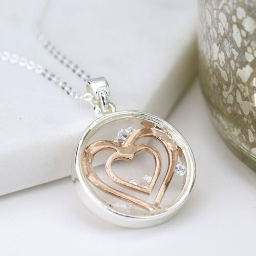Silver Necklace With Heart Plated Gold in a Silver Circle