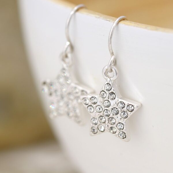 Earrings Star Crystol Plated Silver