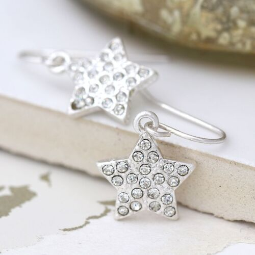 Earrings Star Crystal Plated Silver