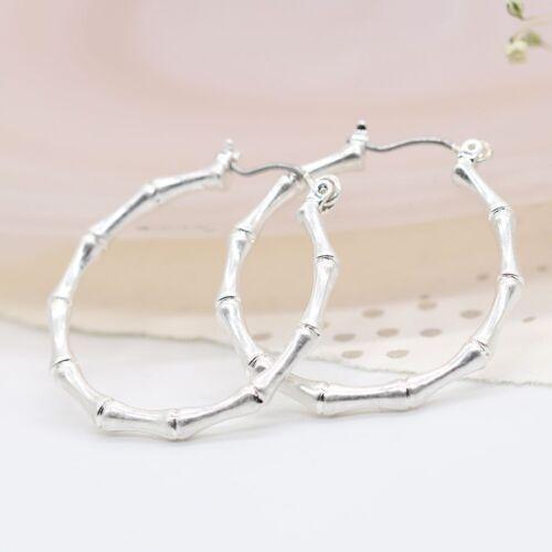 Earrings Hoop Bamboo Plated Silver