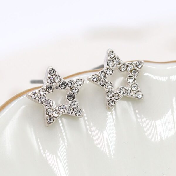 Studs Star Crystal Plated Silver