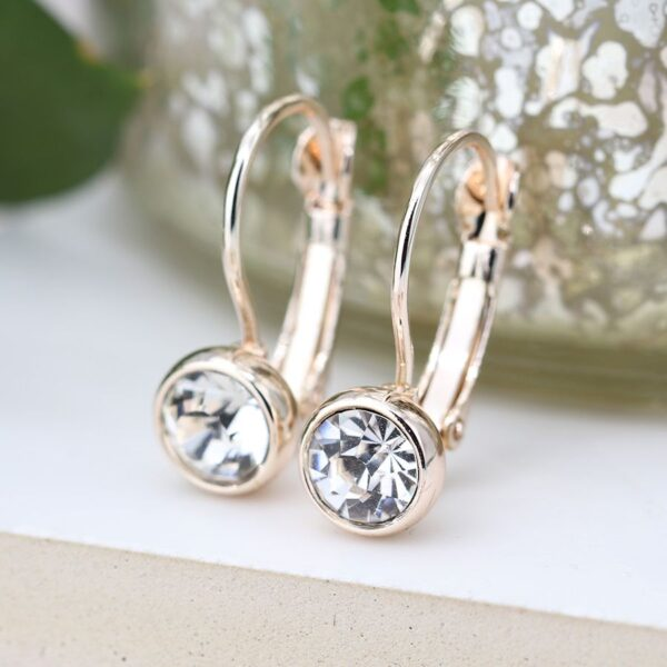 Earrings Crystal Plated Gold Rose