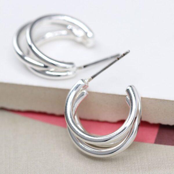 Earrings Hoop Triple Plated Silver