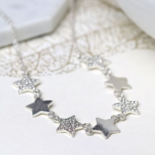Necklace Star Crystal Plated Silver