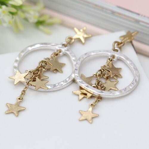 Earrings Star Plated Gold And Silver
