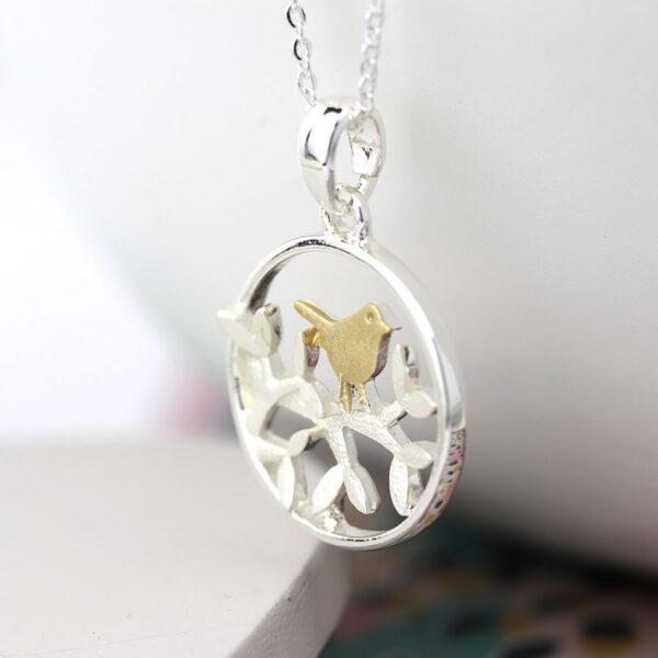 Necklace with Plated Gold Bird And Silver Tree and Surround