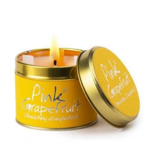 Pink Grapefriut Lily Flame Candle tin