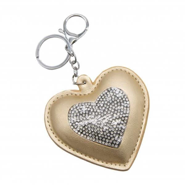 Yellow heart keyring with crystals
