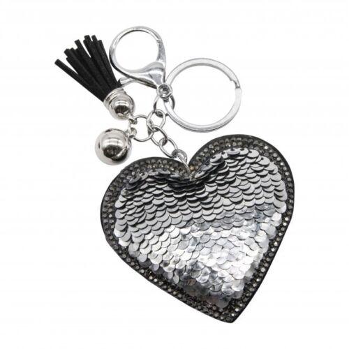 Sequin Heart Keyring