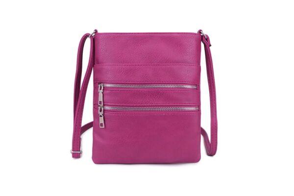 Cross Body Handbag With Two Zips. Purple