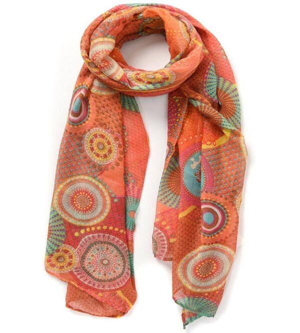 mandala print scarf orange