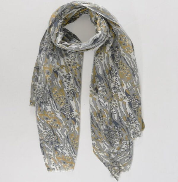 abstract animal print scarf mustard and green