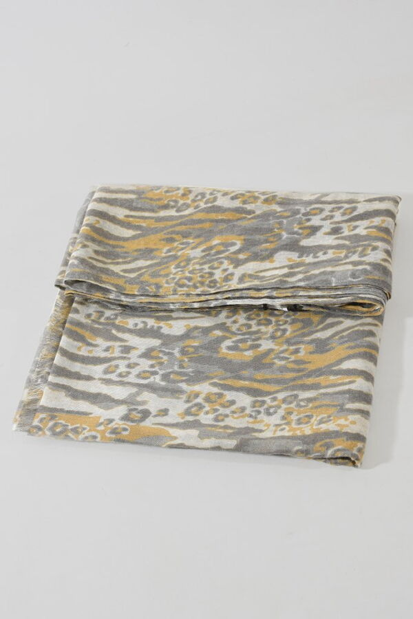 abstract animal print scarf yellow and grey
