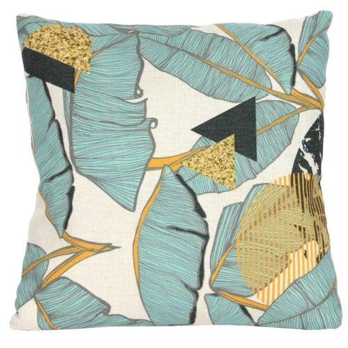 Gisela Graham Leaf design Cushion Teal