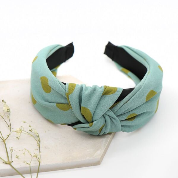 Blue and green spot headband