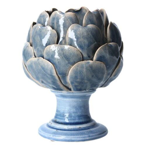 Gisela Graham Ceramic T-lite Holder Blue Artichoke